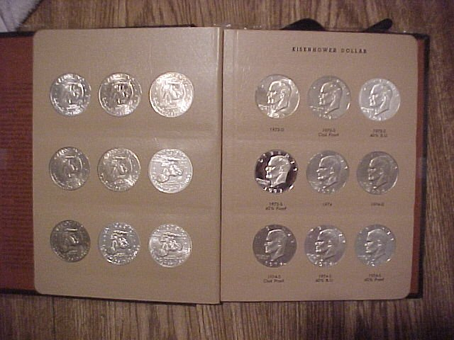 Eisenhower complete 32 coin 1971 to 1978 BU and Proof new Dansco Album