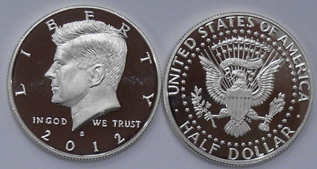 2012 S Silver Proof Kennedy Half Dollar Gem
