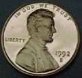1992-S Gem Proof Lincoln Cent Singles