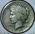 1921 Peace Dollar in Very Good Condition