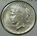 1921 Peace Dollar in AU58 Condition