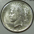 1921 Peace Dollar in MS62 Condition