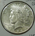 1924 S Peace Dollar in AU58 Condition