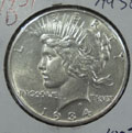 1934 D Peace Dollar in AU58 Condition