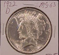 1922 D Peace Dollar in MS63 Condition