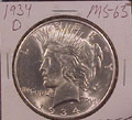 1934 D Peace Dollar in MS63 Condition