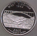 2005-S WV  West Virginia Gem Proof Statehood Quarter Singles