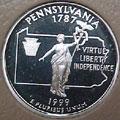 1999-S PA  Pennsylvania 90% Silver Gem Proof Statehood Singles