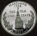 2000-S MD  Maryland 90% Silver Gem Proof Statehood Singles