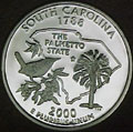2000-S SC  South Carolina 90% Silver Gem Proof Statehood Singles