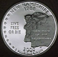 2000-S NH  New Hampshire 90% Silver Gem Proof Statehood Singles