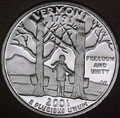 2001-S VT  Vermont 90% Silver Gem Proof Statehood Singles